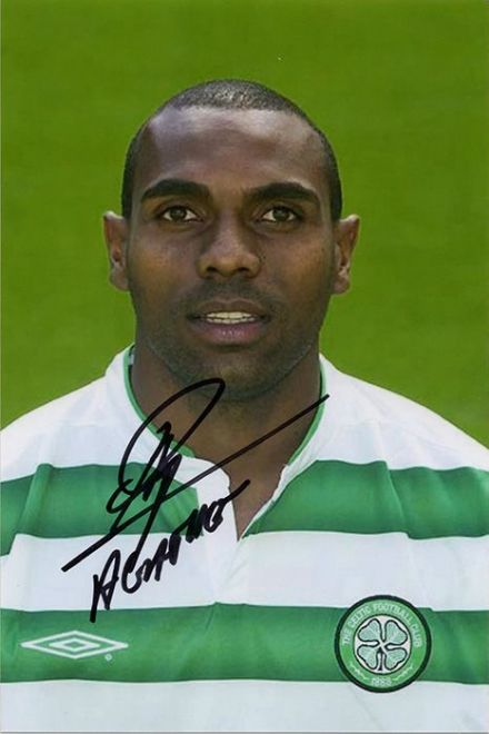 Didier Agathe, Glasgow Celtic, signed 6x4 inch photo.